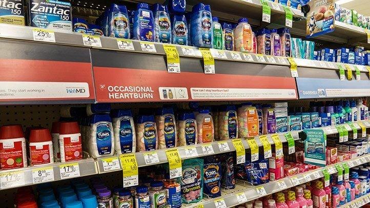 Heartburn Medication on store shelves
